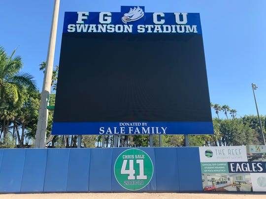 FGCU Baseball's new videoboard was finished this month as a part of a $1 million donation from Chris Sale, his wife Brianne, and their three children.