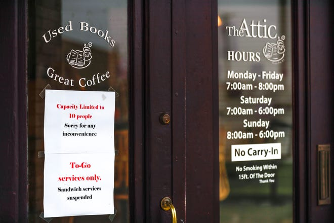 Scenes of rules The Attic put in place due to COVID-19 pandemic on Thursday, March 19, 2020, in Green Bay, Wis. On Friday, March 20, they will only be open for half of the day. Ebony Cox/USA TODAY NETWORK-Wisconsin