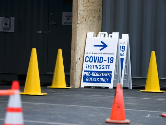 A COVID-19 testing site that is being set up at Aurora BayCare Medical Center, at 2845 Greenbrier Road, in Green Bay.