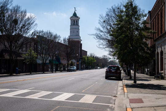 Broad Street in Camden, located in Kershaw County, which currently has the highest number of cases of coronavirus in South Carolina. Wednesday, March 18, 2020.