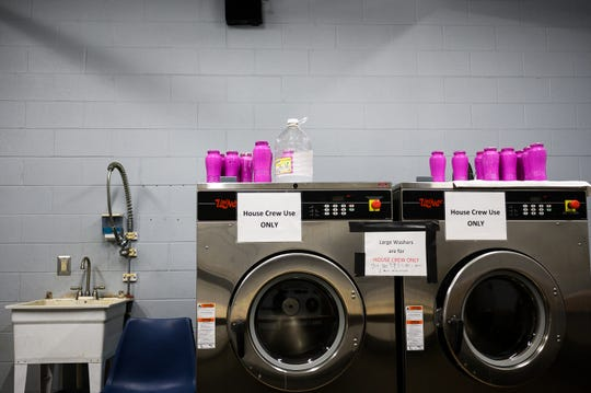 Commercial grade laundry machines at Miracle Hill Rescue Mission Thursday, March 19, 2020. Miracle Hill has been ramping up sanitation efforts to help prevent the spread of COVID-19 at the shelter.