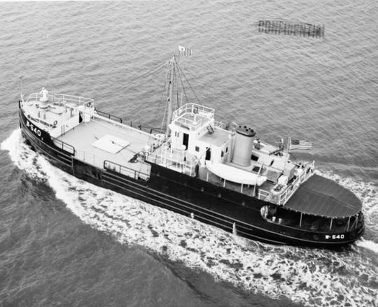 The U.S. Coast Guard cutter White Sumac and three barges were used to rescue local livestock during the flood of 1945. The White Sumac  is shown here May 24, 1948, at the naval shipyard in Charleston, South Carolina. It was decommissioned in 1999 and sold to the Dominican Republic.
