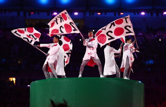 Dancers perform during the hand off ceremony for Tokyo 2020 during the closing ceremonies for the Rio 2016 Summer Olympic Games at Maracana.