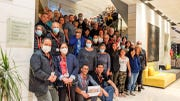 A group of travelers from the U.S. and Canada pose for a photo at a hotel in Morocco on March 18, 2020. Many U.S. citizens, at least four from Indiana, have not been able to return to the U.S. after Morocco closed its borders to prevent the spread of COVID-19.