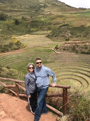 Betsy Matos and William Arce, of Ames, Iowa, at Moray archaeological site March 14, 2020, in the Cusco region of Peru.