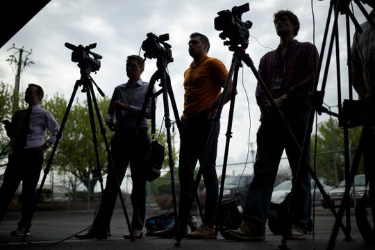 Members of the media attend a press conference on the coronavirus in Knoxville at the Emergency Operations Center in Knoxville, Tennessee on Thursday, March 19, 2020.