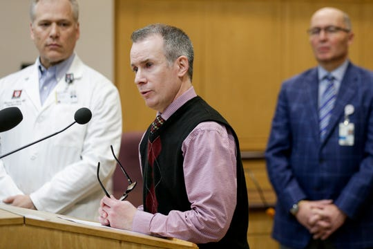 Dr. Jeremy Adler, Tippecanoe County's health officer, speaks during a press conference at the Tippecanoe County Office Building, Thursday, March 19, 2020 in Lafayette.