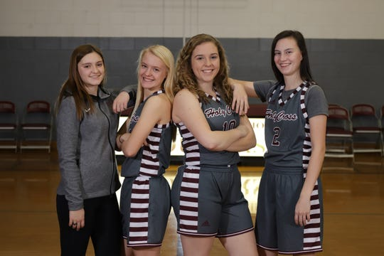 Olivia Murphy (middle) with her basketball teammates at Holy Cross High School.