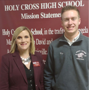 Pictured is Holy Cross High School Principal, Mrs. Jennifer Barz (left), and Holy Cross Senior student, Caleb Wiegandt (right).
