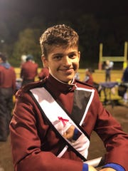 Cameron Konz, a senior at Atherton High School, at a marching band performance in fall 2019.