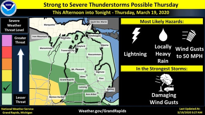 Strong to severe thunderstorms are possible overnight March 19, 2020.