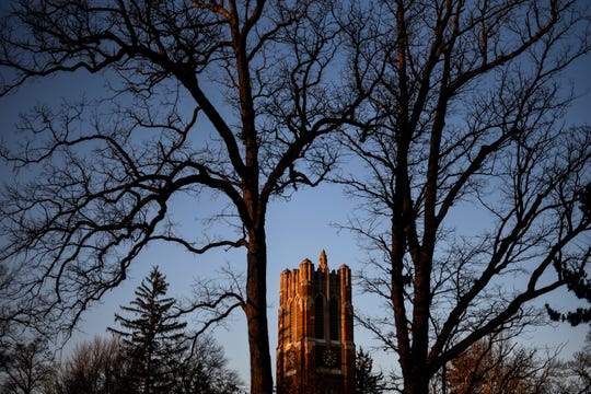 A quiet scene of the Beaumont Tower photographed on Tuesday, March 17, 2020, in East Lansing. Michigan State's campus is nearly empty after classes were cancelled to help slow the spread of the coronavirus.