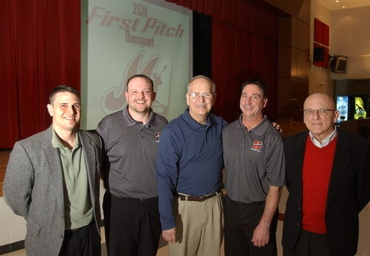 Former Marion Harding baseball coaches past and present pose for a photograph at the 2011 First Pitch baseball banquet held at Harding High School. From left is Chad Thrush, Brett McCrery, Greg Swepston, Mike Pace, and Larry Merchant.