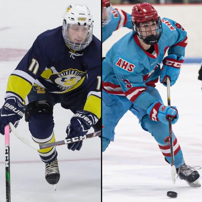 University School of Milwaukee's Tyler Herzberg (11)  Arrowhead's Nick Catalano (9)