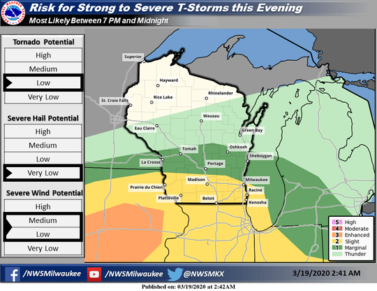 Southern Wisconsin is under a slight risk for severe thunderstorms this evening and into the nighttime hours.
