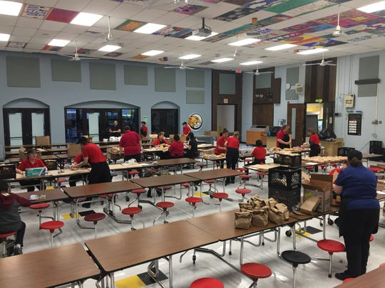 Cafeteria staff at Copeland Middle School packs low cost and free meals for hundreds of Rockaway Township students each day.