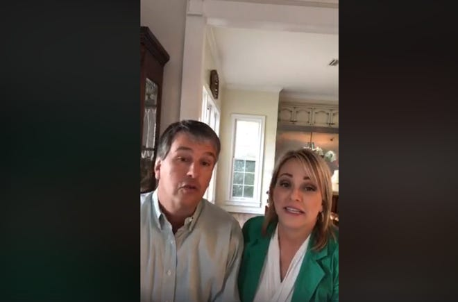 Barry Moore, a Republican candidate for Congress, and his wife Heather Moore speak during a Facebook town hall on March 17, 2020. Moore and other Alabama political campaigns are having to adjust to the coronavirus outbreak and a longer campaign schedule.