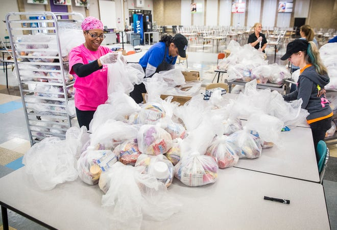 As the COVID-19 pandemic became a reality in spring 2020, Chartwells employees and volunteers prepared about 40,000 meals in 48 hours for not only families who attend Muncie Community Schools, but every child in the community.