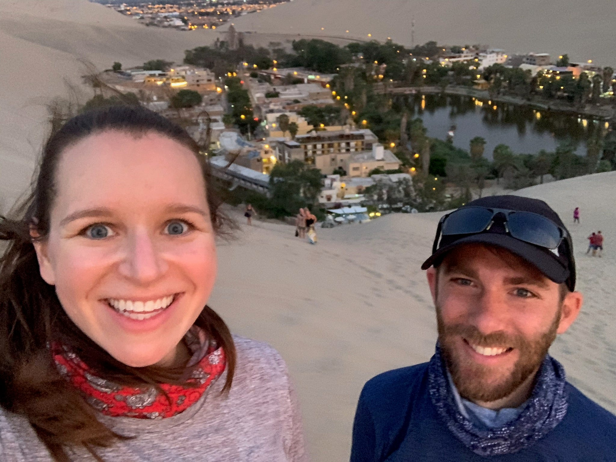 Jonathan and Melissa Robbins, Nashville residents, traveled to Peru on vacation in mid-May. Now, they're stuck in Cusco, a historic mountain town, with no idea when they will be able to get home. Before learning of the national lockdown and heading into quarantine in a Cusco hotel, the pair visited a desert resort in Huacachina, pictured.