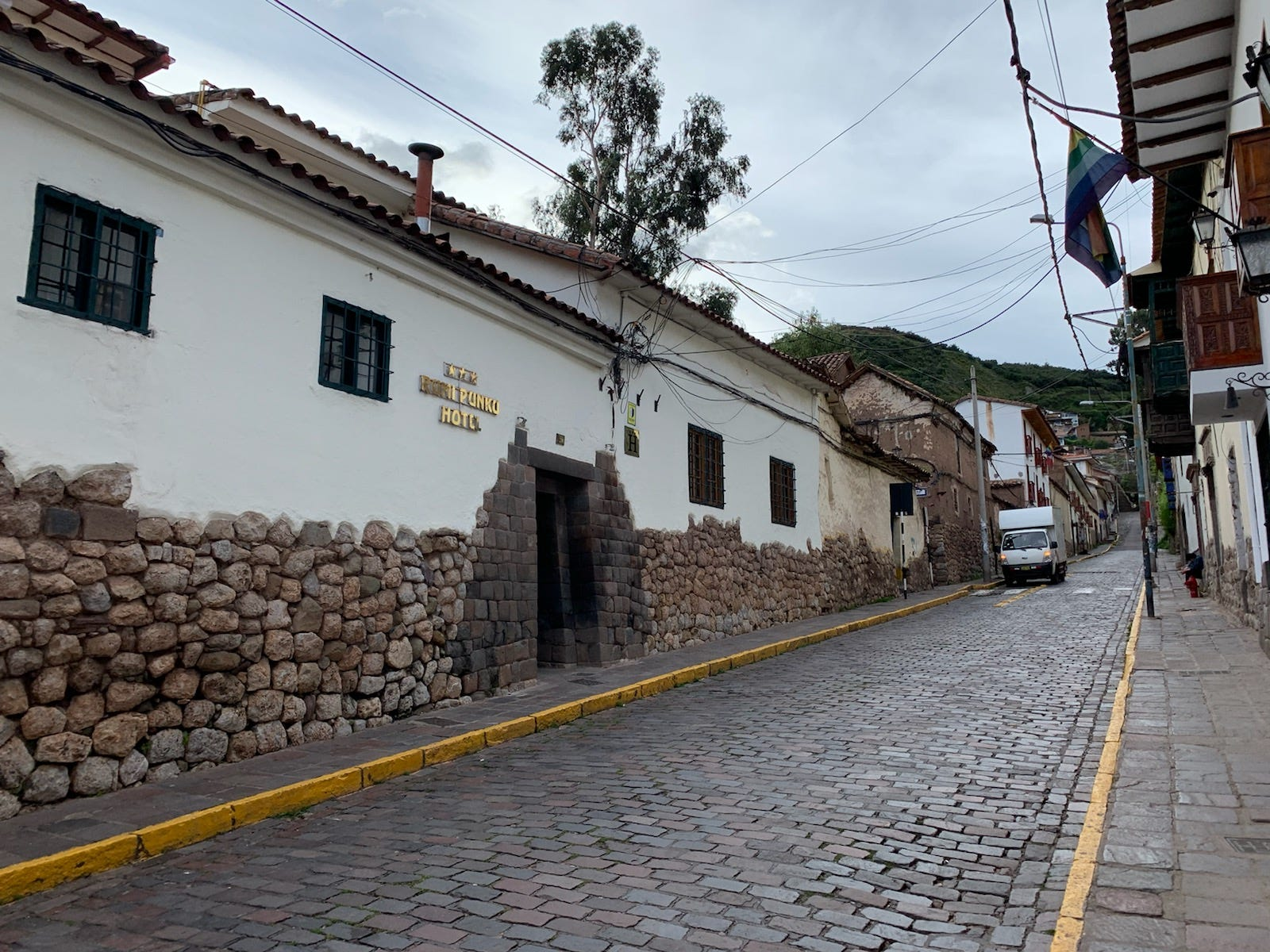 The historic city of Cusco is picturesque, with cobbles streets and cathedrals nestled among the mountains. Jonathan and Melissa Robbins, of Nashville, are staying on the pictured street in a hotel room with an en-suite kitchen that allows them to cook at home.