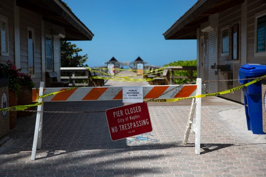 Naples Pier remains closed to the public as pictured on Thursday, March 19, 2020.