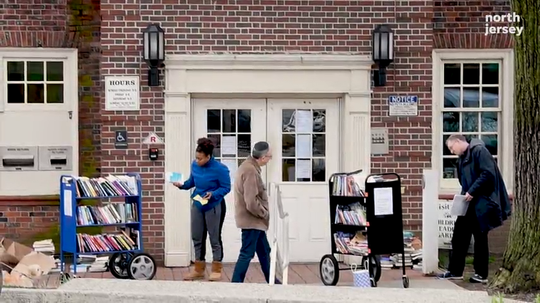 Teaneck has an outdoor library to keep patrons reading after closing their doors to the public in March during the Coronavirus pandemic.