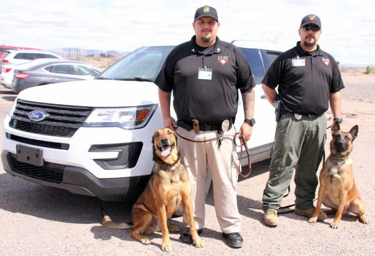 """From left are LCDC Cpl. Dustin Armendariz and """"Jimmy,"""" with LCDC Chief Supervisor Andy Gilmore and """"Scar."""""""