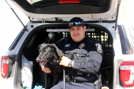 Deming Police Department K-9 officers Darla and Gabriel Saenz.