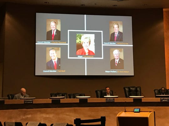 Rancho Mirage City Council members Charles Townsend, Richard Kite, Ted Weill, Mayor Pro Tem Dana Hobart and Mayor Iris Smotrich participated in the Thursday, March 19, 2020, meeting by teleconference.