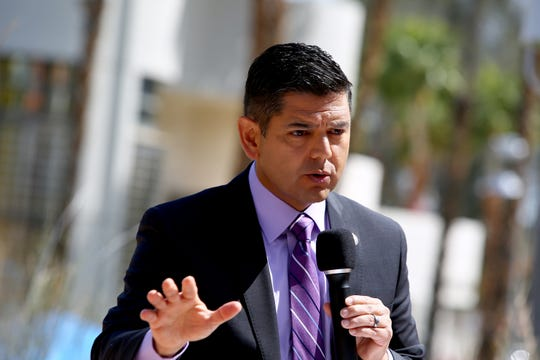 Rep. Raul Ruiz speaks during a press conference at Desert Regional Medical Center in Palm Springs, Calif., on Thursday, March 19, 2020.