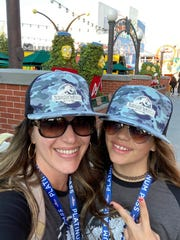 Crystal Parker and her daughter Cassidy Parker pictured at Universal Studios in Los Angeles on March 13, 2020. They went to Disneyland in the days after.