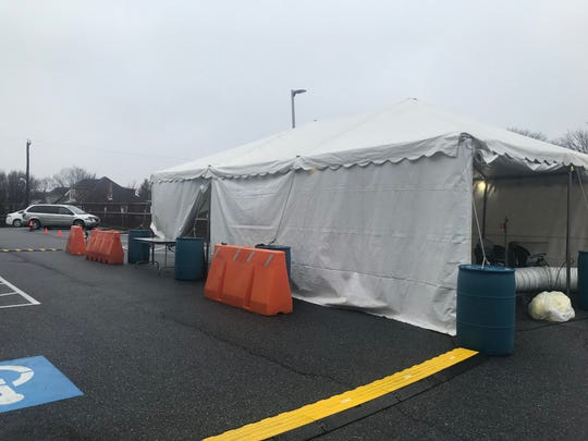 The screening tent set up at WellSpan Good Samaritan Hospital in Lebanon. WellSpan also has a testing tent set up at a location on Norman Drive in Lebanon.
