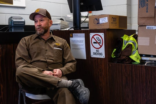 Ron Mackensen, a delivery driver for UPS, is interviewed Thursday, March 19, 2020, at the UPS Distribution Center in Port Huron. Mackensen will be accident-free for 30 years in July.