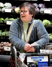 Sheila Bedell of York City shops in the Giant at 1255 Carlisle Road during an hour reserved for only those aged 60 and older Thursday, March 19, 2020. The first hour of the store's day allows seniors to shop in less crowded conditions, providing a more sanitary setting for those susceptible to increased COVID-19 risks. Bill Kalina photo