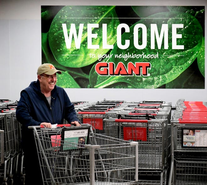 Bill Shelton of West Manchester Township enters the Giant at 1255 Carlisle Road during an hour reserved for customers aged 60 and older Thursday, March 19, 2020. The first hour of the store's day allows seniors to shop in less crowded conditions, providing a more sanitary setting for those susceptible to increased COVID-19 risks. Bill Kalina photo