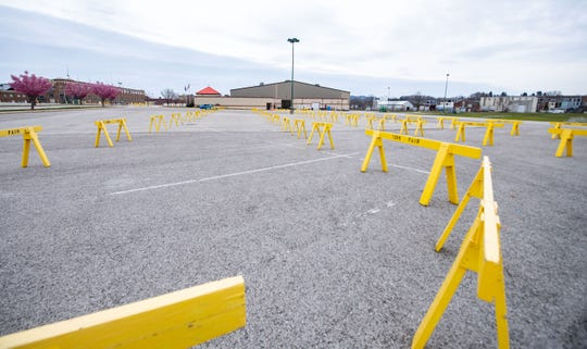 All barriers lead to the York Expo Center where testing will be conducted, March 18, 2020.