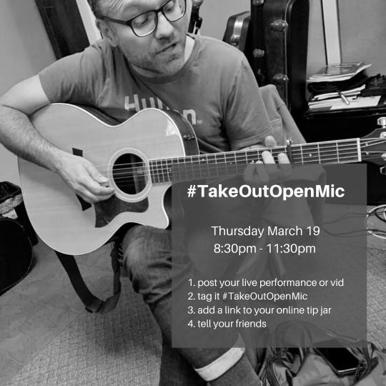 Vito Grippi has applied the take-out-only concept and applied it to open mics to help musicians get through the coronavirus pandemic.