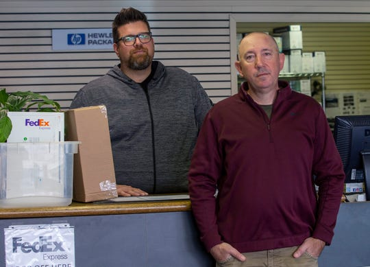 Rapid Print Solutions co-owners Brad Wernicke and Daren Patera have decided to move their business from downtown Salem because of the homeless problem, on March 17, 2020.