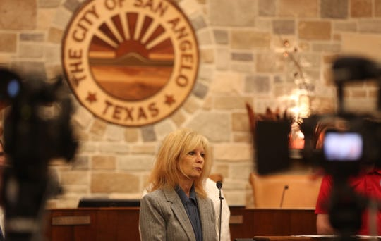 San Angelo Mayor Brenda Gunter addresses the press at an emergency city council meeting about the coronavirus Thursday, March 19, 2020.