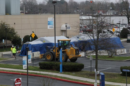"""A portable and inflatable hospital is being erected outside the Emergency Department. It's being set up """"to handle surge, if and when that happens"""" according to PRMC on MArch 19, 2020."""