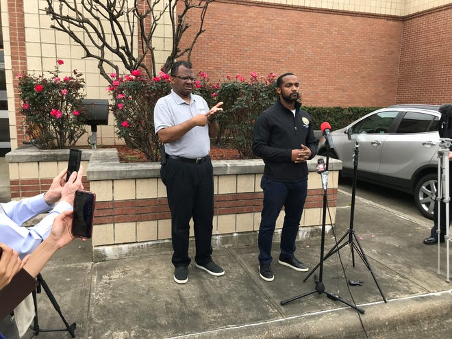 Shreveport Mayor Adrian Perkins speaks at a press conference on Wednesday announcing the closure of Government Plaza for two days.