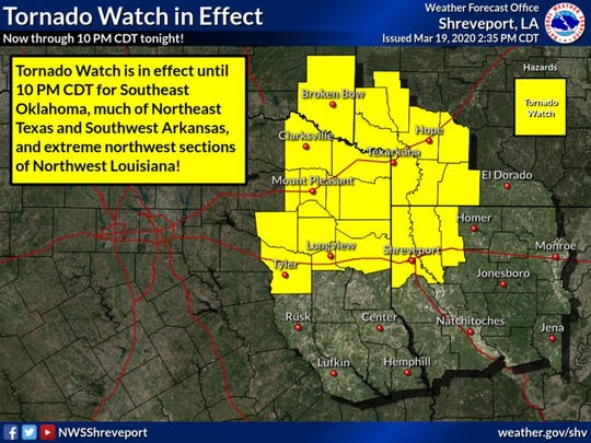 A tornado watch is in effect until 10 p.m. on Thursday.