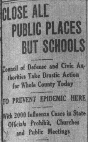 Argus Leader headline announces broad closures during 1918 flu pandemic.