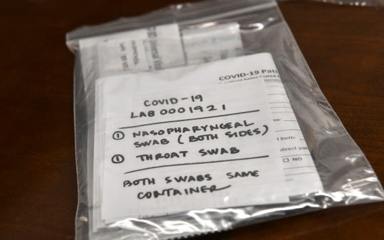 A testing kit for COVID-19 is pictured Friday, March 13, 2020, at St. Cloud Hospital.