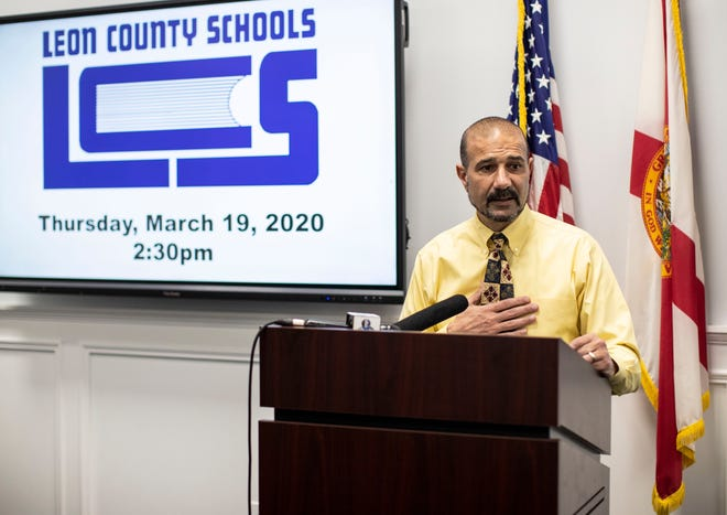 Leon County Schools Superintendent Rocky Hanna holds a press conference to update families on how the coronavirus is impacting schools, Thursday, March 19, 2020.