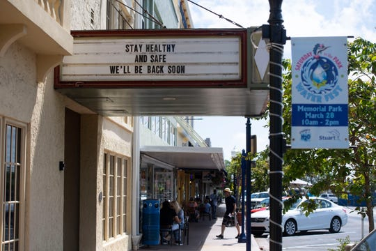 The marquee at the Lyric Theatre sends a message to be safe and healthy Thursday, March 19, 2020, in Stuart. All performances through April 6 are suspended at the theatre as coronavirus continues spreading across the globe.