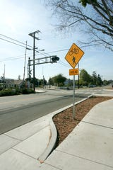 A section of the Santa Paula bike path is seen cutting across the railroad tracks on 7th street.