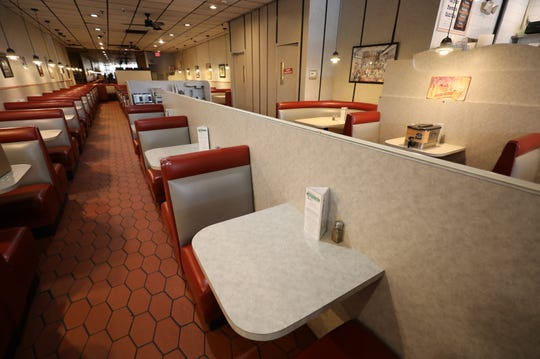 The empty dining room at Epstein's Kosher Deli in The Dalewoods shopping center on Central Avenue in Hartsdale, March 19, 2020.