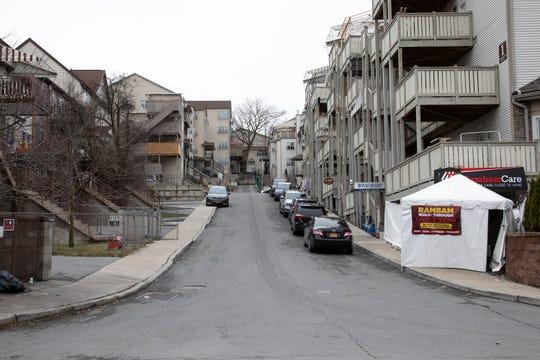 A walk through COVID-19 testing site on a street corner in Kiryas Joel on March 19, 2020.