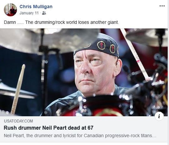 Chris Mulligan commenting on the death of Rush drummer Neil Peart.